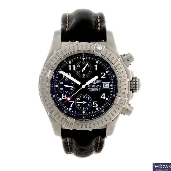 BREITLING - a gentleman's titanium Chrono Avenger chronograph wrist watch.