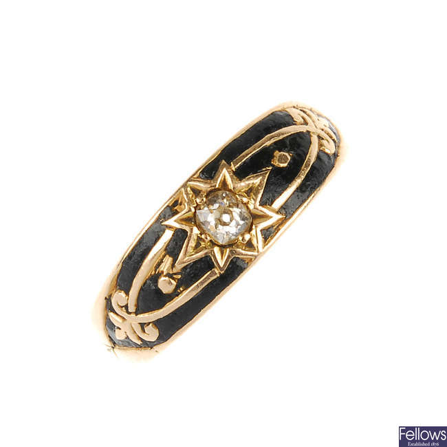 An early Victorian 15ct gold, diamond and enamel ring.