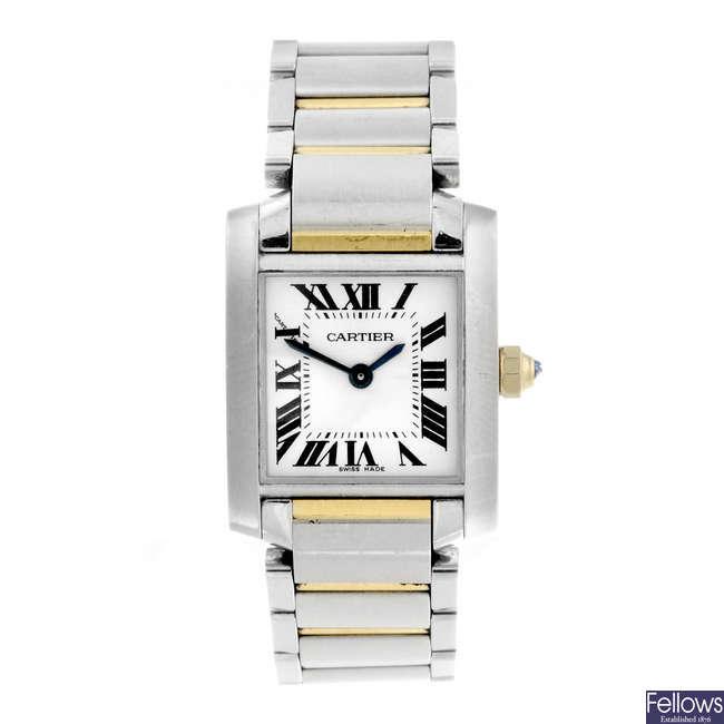 CARTIER - a stainless steel Tank Francaise bracelet watch.