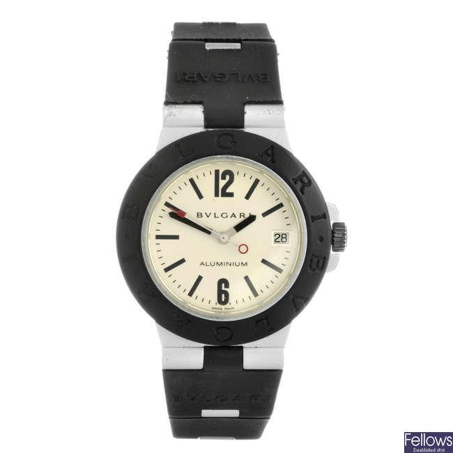 BULGARI - a gentleman's Diagono Aluminium wrist watch.