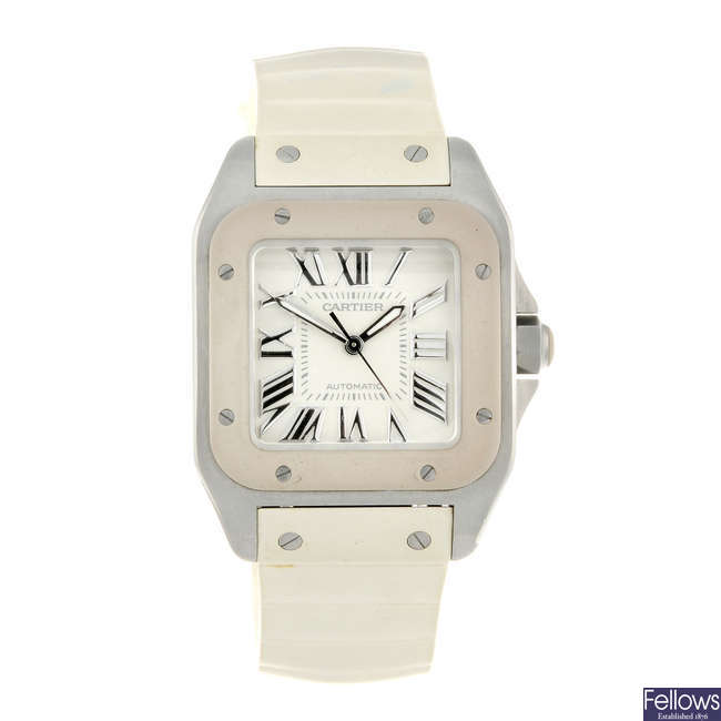 CARTIER - a stainless steel Santos 100 wrist watch.