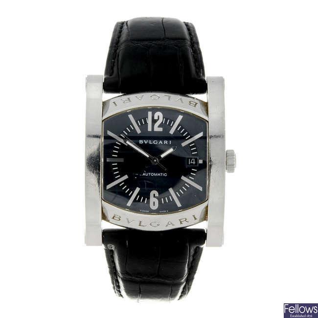 BULGARI - a gentleman's stainless steel Assioma wrist watch.
