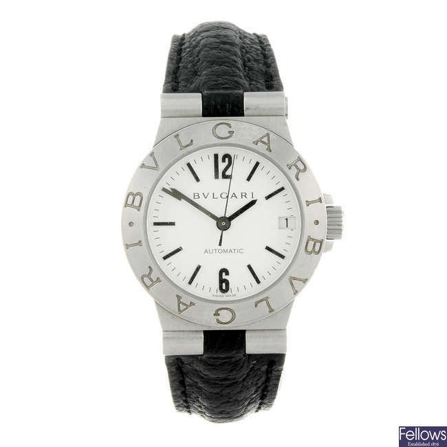 BULGARI - a lady's stainless steel Diagono wrist watch.
