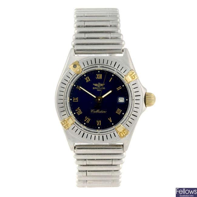 BREITLING - a lady's stainless steel Callistino bracelet watch.