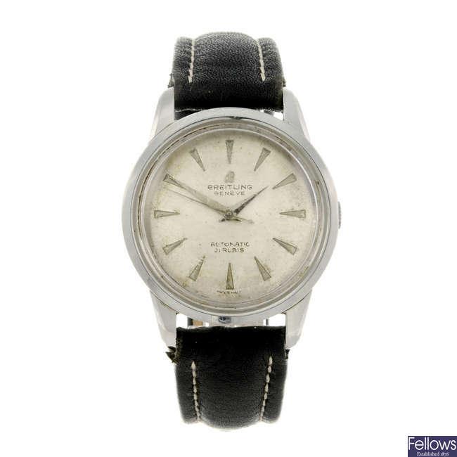 BREITLING - a gentleman's stainless steel wrist watch.