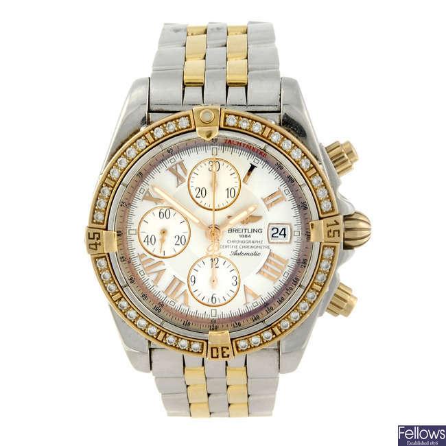 BREITLING - a gentleman's bi-colour Windrider Chronomat Evolution chronograph bracelet watch.