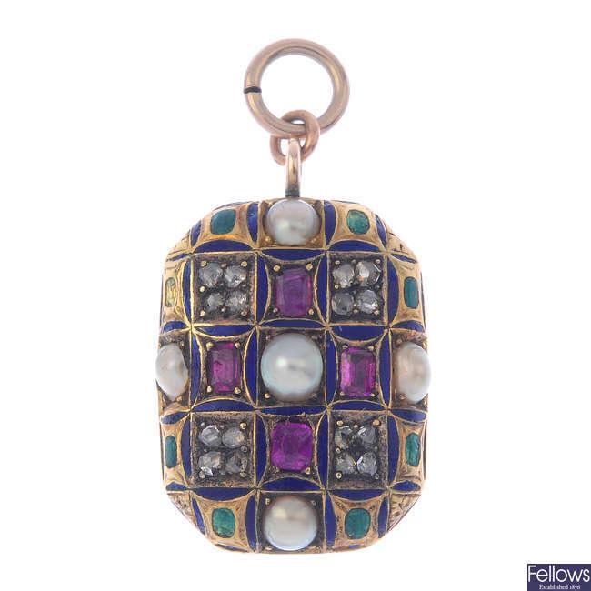 A mid Victorian gem-set pendant, circa 1860.