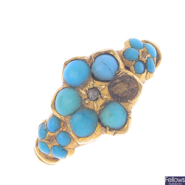 A late Victorian turquoise and diamond memorial ring.