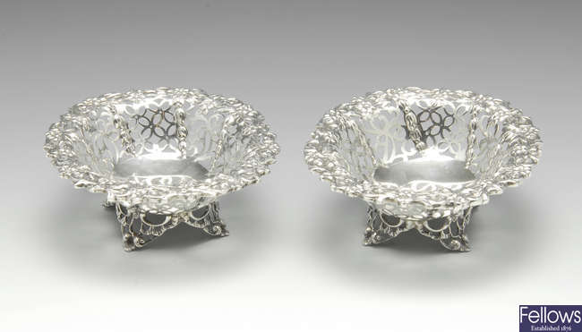A pair of late Victorian silver pierced dishes.