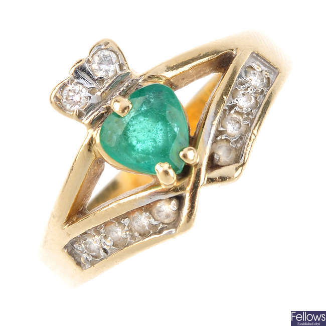 A 14ct gold emerald and diamond Claddagh ring.