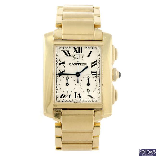 CARTIER - an 18ct yellow gold Tank Francaise chronograph bracelet watch.