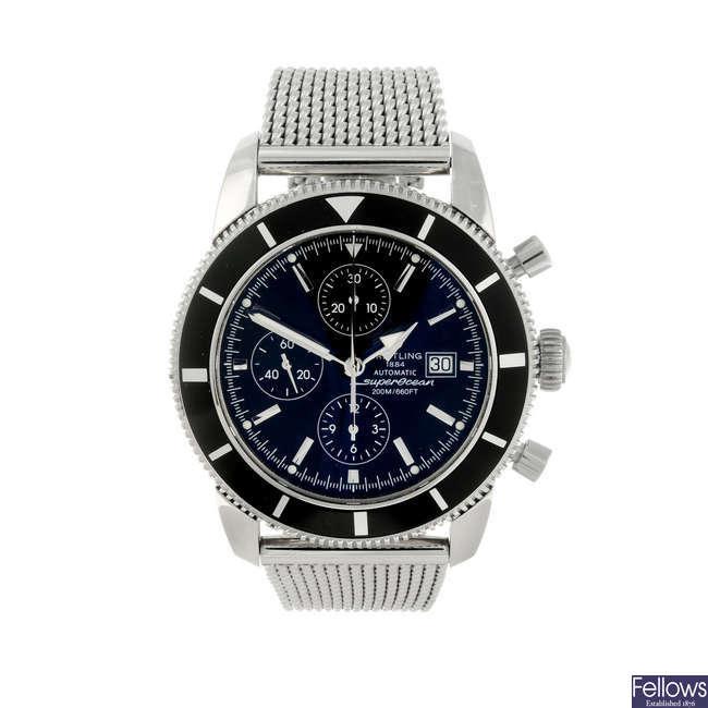 BREITLING - a gentleman's stainless steel Aeromarine Superocean Heritage chronograph bracelet watch.