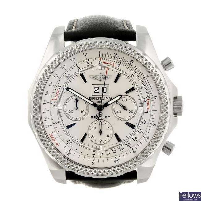 BREITLING - a gentleman's stainless steel Breitling For Bentley 6.75 chronograph wrist watch.
