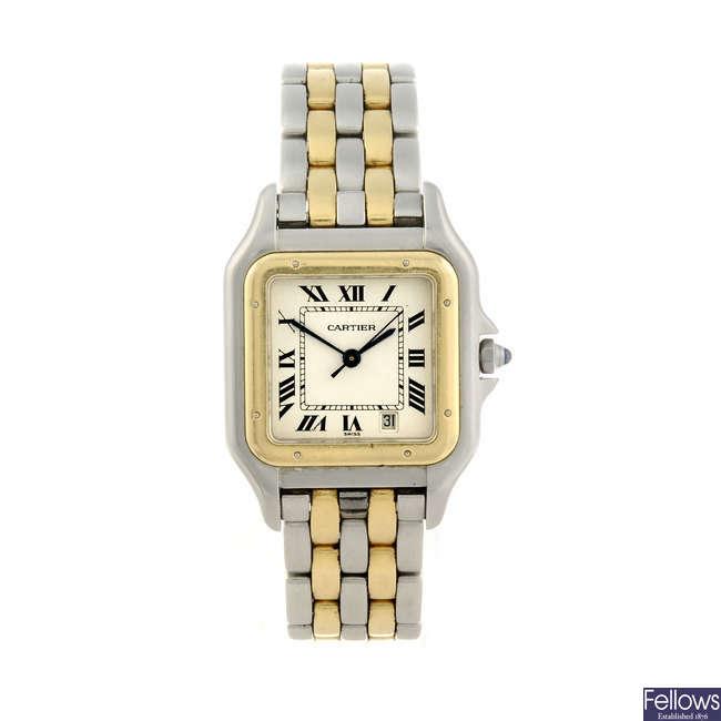 CARTIER - a bi-metal Panthere bracelet watch.