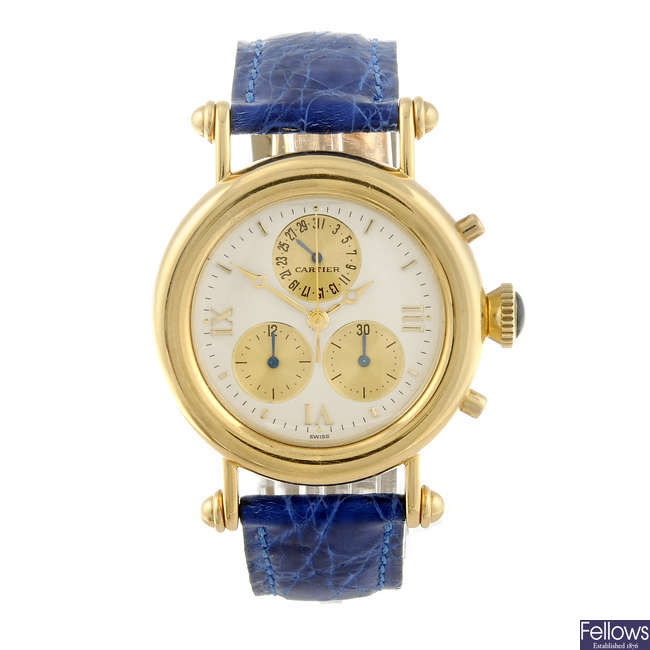 CARTIER - an 18ct yellow gold Diabolo chronograph wrist watch.
