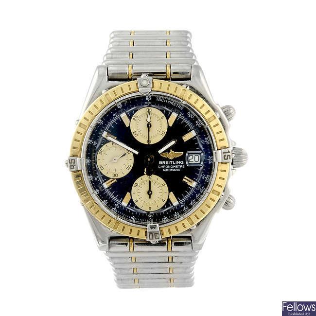 BREITLING - a gentleman's bi-metal Chronomat chronograph bracelet watch.