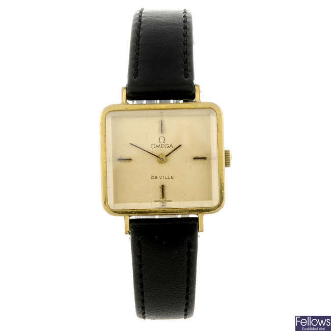 OMEGA - a lady's gold plated De Ville wrist watch.