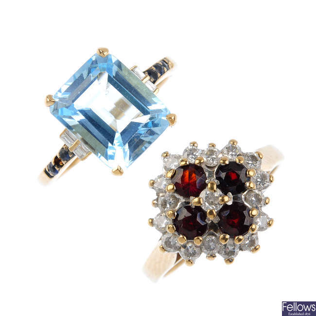 Four 9ct gold diamond and gem-set rings.