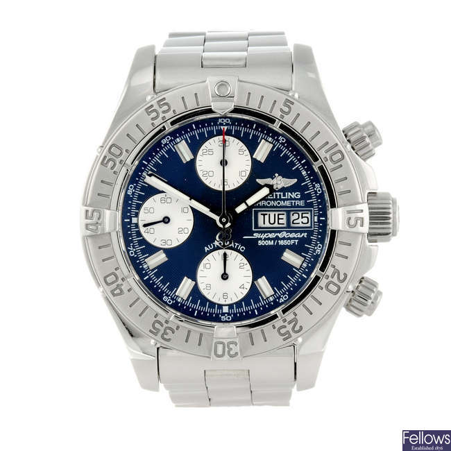 BREITLING - a gentleman's stainless steel Chrono Superocean chronograph bracelet watch.