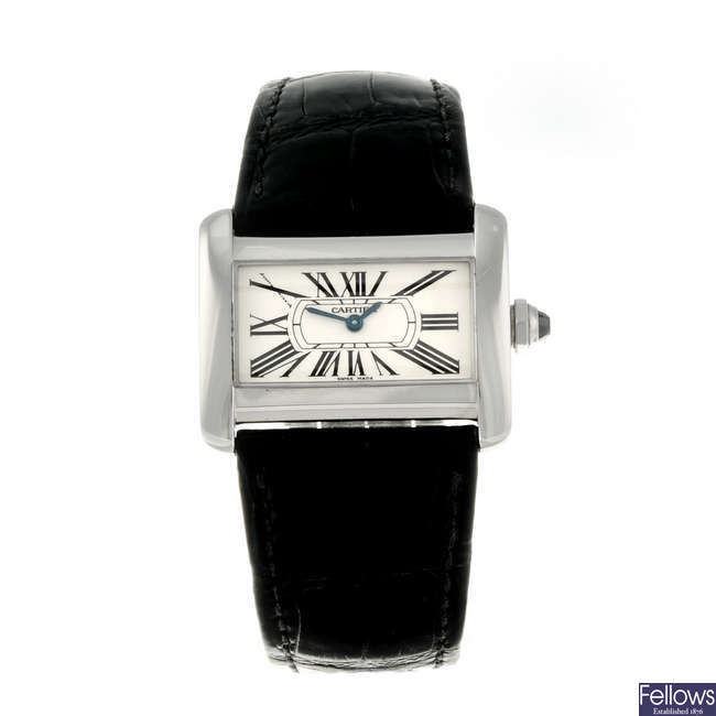 CARTIER - a stainless steel Tank Divan wrist watch.