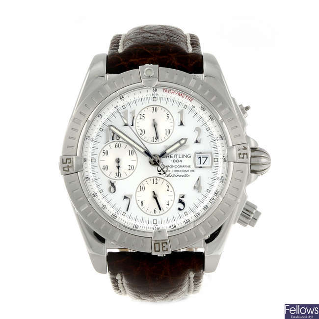 BREITLING - a gentleman's stainless steel Chronomat Evolution chronograph wrist watch.