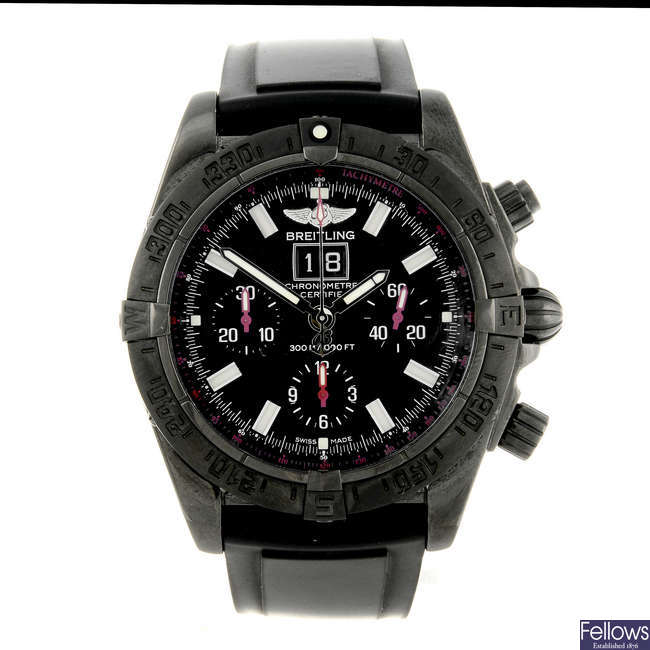 BREITLING - a limited edition gentleman's PVD-coated stainless steel Blackbird Blacksteel chronograph wrist watch.