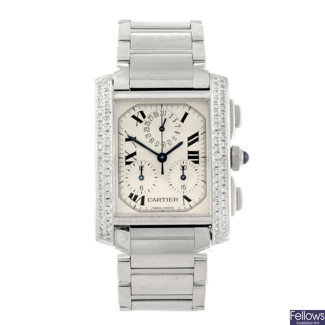 CARTIER - a stainless steel Tank Francaise chronograph bracelet watch.