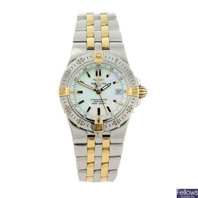BREITLING - a lady's bi-metal Windrider Starliner bracelet watch.