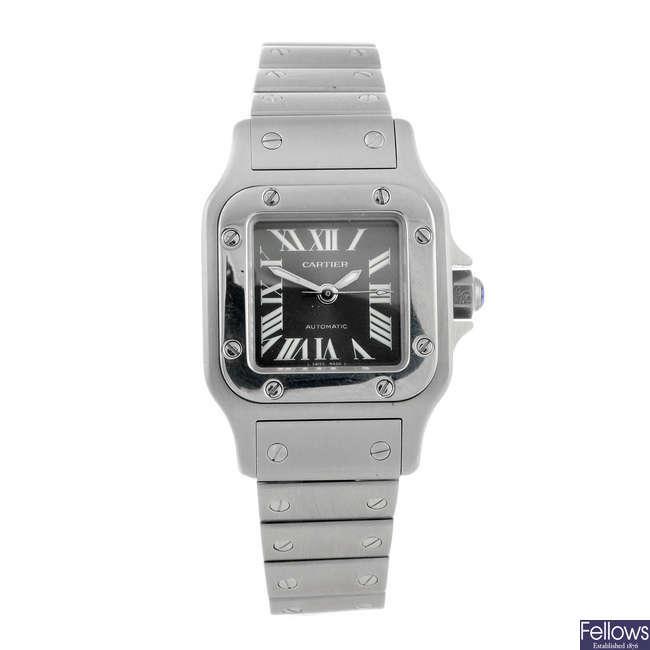 CARTIER - a stainless steel Santos bracelet watch.