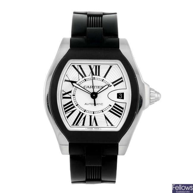 CARTIER - a stainless steel Roadster wrist watch.