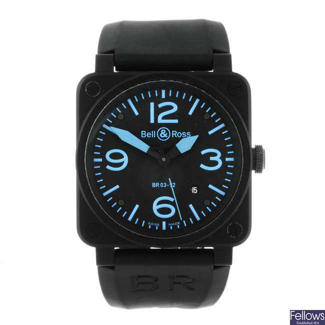 BELL & ROSS - a gentleman's carbon powder coated stainless steel Aviation wrist watch.