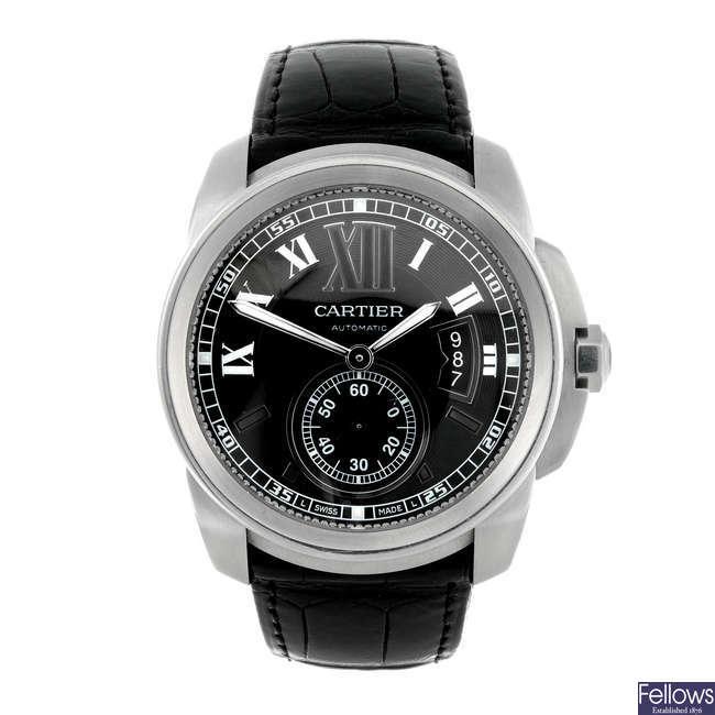 CARTIER - a stainless steel Calibre De Cartier wrist watch.