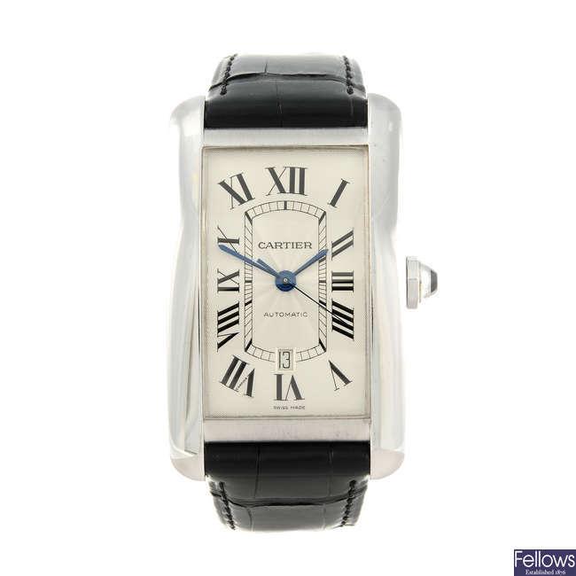CARTIER - an 18ct white gold Tank Americaine XL wrist watch.