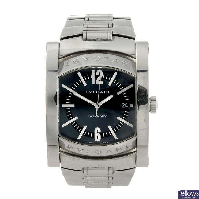 BULGARI - a gentleman's stainless steel Assioma bracelet watch.