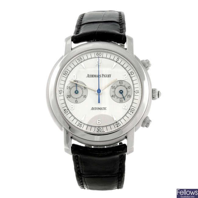 AUDEMARS PIGUET - a gentleman's stainless steel Jules Audemars chronograph wrist watch.