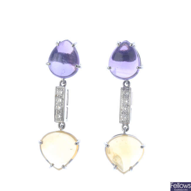 A pair of diamond, amethyst and citrine earrings.