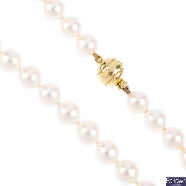MIKIMOTO - a cultured pearl single-strand necklace with 18ct gold clasp.