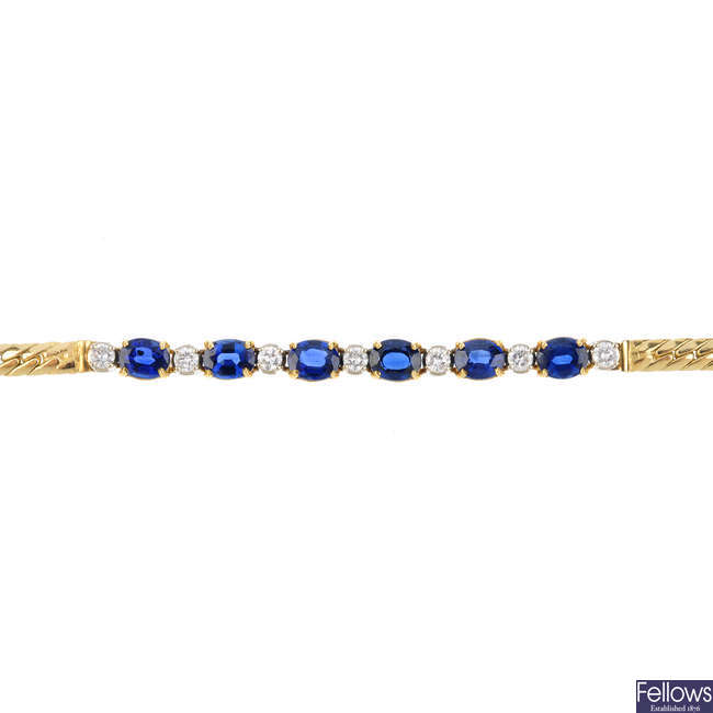 A 14ct gold sapphire and diamond bracelet.