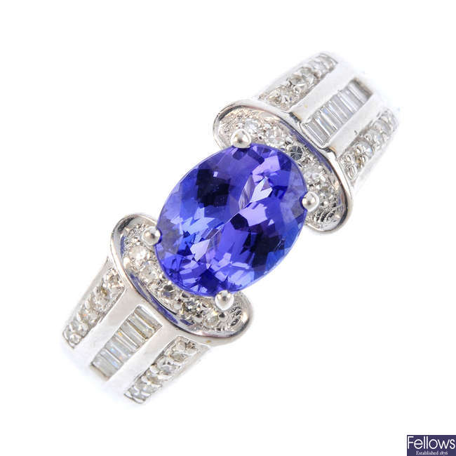 An 18ct gold tanzanite and diamond ring.