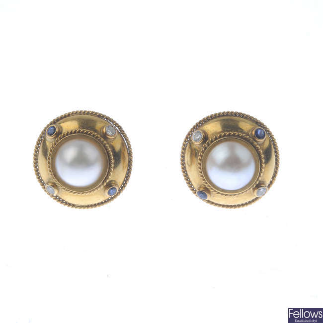 THEO FENNELL - a pair of 18ct gold mabe pearl, diamond and sapphire earrings.