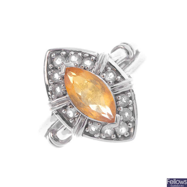 A 9ct gold citrine dress ring.
