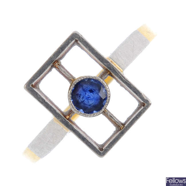 An early 20th century platinum and 18ct gold sapphire dress ring.
