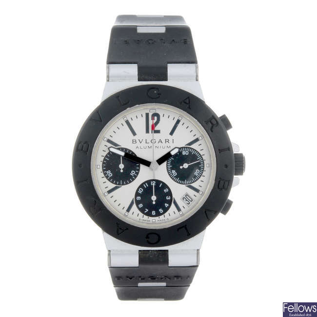 BULGARI - a gentleman's Diagono Aluminium chronograph wrist watch.