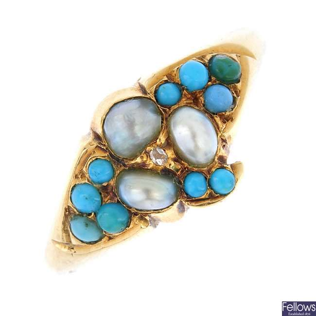 An early 20th century gold turquoise, diamond and split pearl ring.