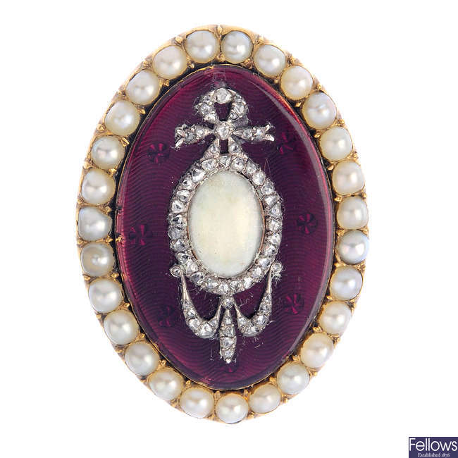 An enamel, diamond and split pearl brooch.