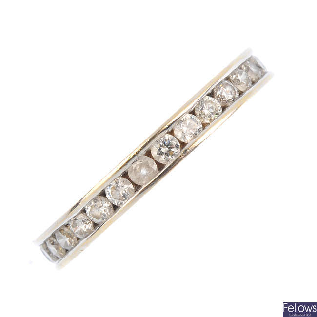 An 18ct gold diamond full eternity ring.
