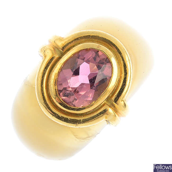 An amethyst and hardstone ring.