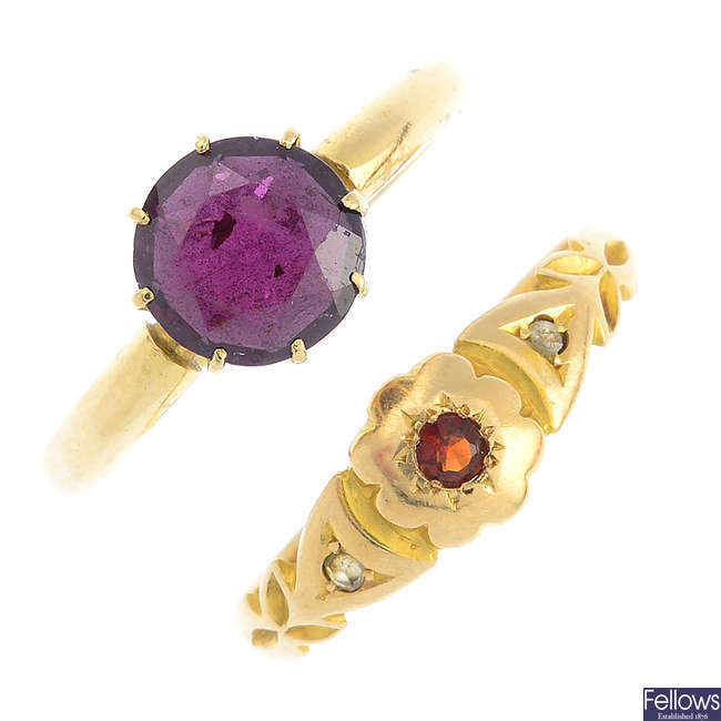Two early 20th century gold garnet rings.