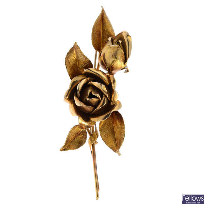 A mid 20th century 18ct gold rose brooch.