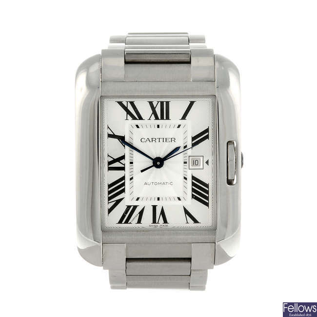 CARTIER - a stainless steel Tank Anglaise bracelet watch.